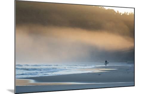 A Surfer on Juquehy Beach at Sunrise-Alex Saberi-Mounted Photographic Print