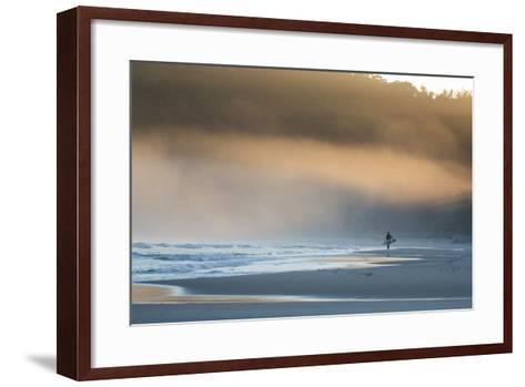 A Surfer on Juquehy Beach at Sunrise-Alex Saberi-Framed Art Print