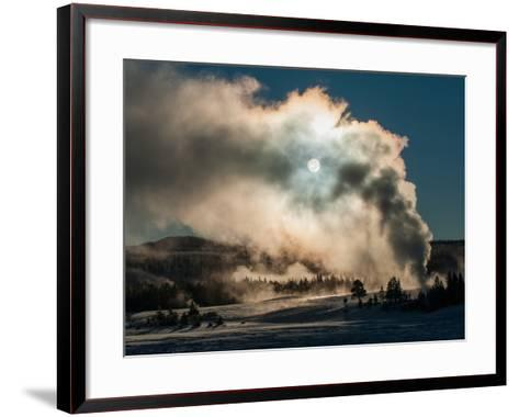 Vapor from Old Faithful Rises More Than Two Hundred Feet to Partially Obscure the Sun-Tom Murphy-Framed Art Print