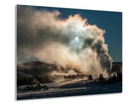 Vapor from Old Faithful Rises More Than Two Hundred Feet to Partially Obscure the Sun-Tom Murphy-Metal Print