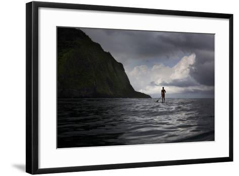 Stand Up Paddle Boarding in Waipi'O Bay-Chris Bickford-Framed Art Print