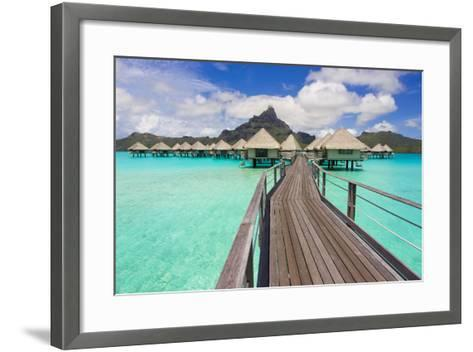 The Boardwalk to the Over-Water Bungalows at the Le Meridien Resort-Mike Theiss-Framed Art Print