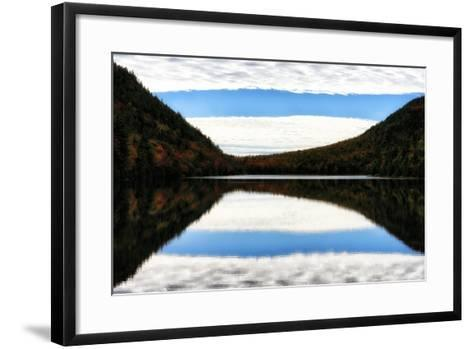 Clouds and Forests in Autumn Colors Reflected in the Calm Surface of a Lake-Robbie George-Framed Art Print