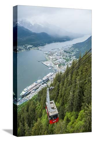 A High Angle View of the Mount Roberts Tramway Above the City of Juneau-Jonathan Kingston-Stretched Canvas Print