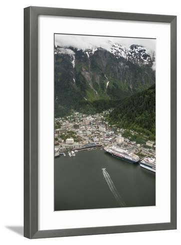 An Aerial View of Cruise Ships and a Seaplane in Juneau's Harbor-Jonathan Kingston-Framed Art Print