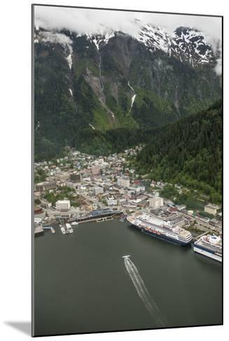 An Aerial View of Cruise Ships and a Seaplane in Juneau's Harbor-Jonathan Kingston-Mounted Photographic Print