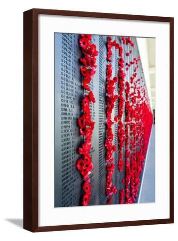 The Roll of Honour and the Names of Fallen Soldiers are Remembered with Bright Red Poppies-Jason Edwards-Framed Art Print