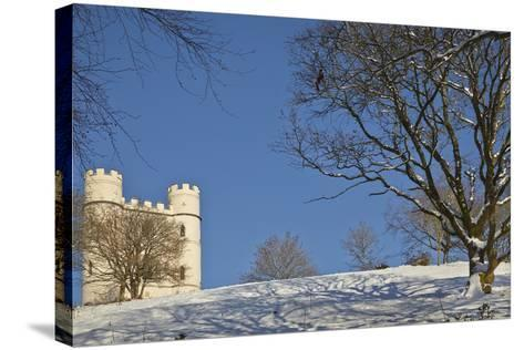 A Snowy Winter View of a Victorian 'Folly' Castle, Haldon Belvedere-Nigel Hicks-Stretched Canvas Print