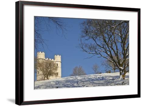 A Snowy Winter View of a Victorian 'Folly' Castle, Haldon Belvedere-Nigel Hicks-Framed Art Print