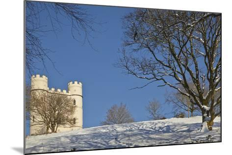 A Snowy Winter View of a Victorian 'Folly' Castle, Haldon Belvedere-Nigel Hicks-Mounted Photographic Print