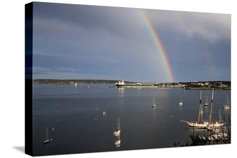 A Double Rainbow Falls over South Portland, Maine on a Summer Day-Robbie George-Stretched Canvas Print