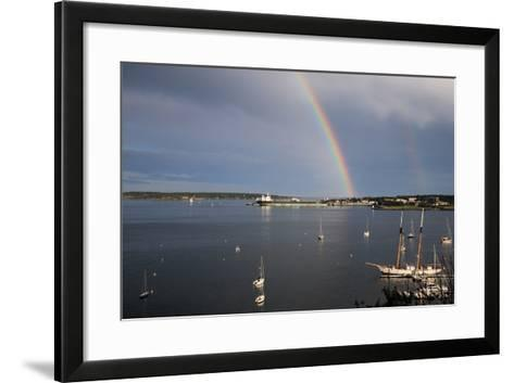 A Double Rainbow Falls over South Portland, Maine on a Summer Day-Robbie George-Framed Art Print