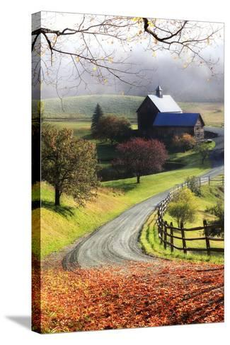 A Farm on a Winding Rural Road on a Foggy Autumn Morning-Robbie George-Stretched Canvas Print