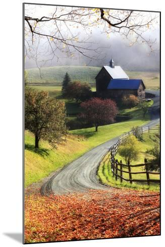 A Farm on a Winding Rural Road on a Foggy Autumn Morning-Robbie George-Mounted Photographic Print
