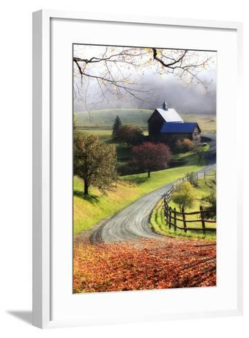 A Farm on a Winding Rural Road on a Foggy Autumn Morning-Robbie George-Framed Art Print