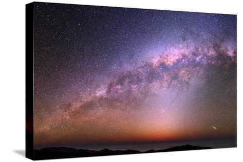 The Bulge of the Milky Way, Blue Zodiacal Light, and a Satellite Flare over the Atacama and Pacific-Babak Tafreshi-Stretched Canvas Print