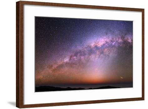 The Bulge of the Milky Way, Blue Zodiacal Light, and a Satellite Flare over the Atacama and Pacific-Babak Tafreshi-Framed Art Print