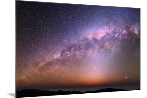 The Bulge of the Milky Way, Blue Zodiacal Light, and a Satellite Flare over the Atacama and Pacific-Babak Tafreshi-Mounted Photographic Print