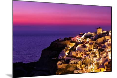 Dusk over the Aegean Sea and a White-Washed, Cliff-Top Town on Santorini Island-Babak Tafreshi-Mounted Photographic Print