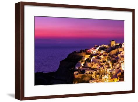 Dusk over the Aegean Sea and a White-Washed, Cliff-Top Town on Santorini Island-Babak Tafreshi-Framed Art Print
