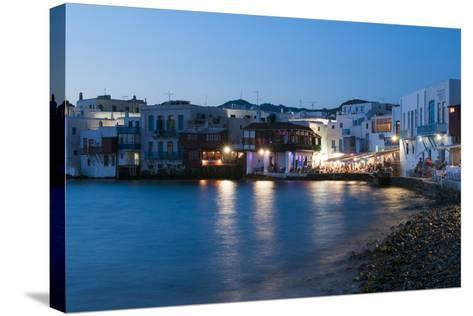 A Night View of the Little Venice Neighborhood on the Coast of the Aegean Sea-Sergio Pitamitz-Stretched Canvas Print