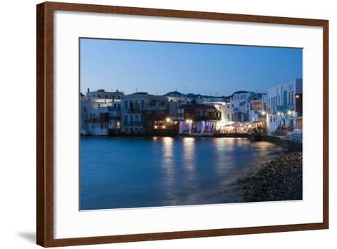 A Night View of the Little Venice Neighborhood on the Coast of the Aegean Sea-Sergio Pitamitz-Framed Art Print