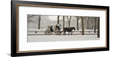A Horse a Carriage in Central Park During a Blizzard-Kike Calvo-Framed Art Print