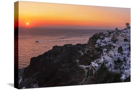 Sunset over the Aegean Sea Seen from a Cliff-Top Town on Santorini Island-Babak Tafreshi-Stretched Canvas Print