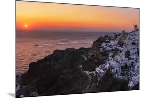 Sunset over the Aegean Sea Seen from a Cliff-Top Town on Santorini Island-Babak Tafreshi-Mounted Photographic Print