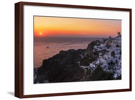 Sunset over the Aegean Sea Seen from a Cliff-Top Town on Santorini Island-Babak Tafreshi-Framed Art Print