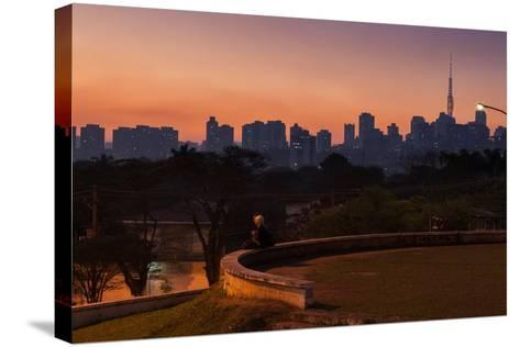 A Couple Watch the Sunset in Praca Do Por Do Sol, Sunset Square, in Sao Paulo-Alex Saberi-Stretched Canvas Print