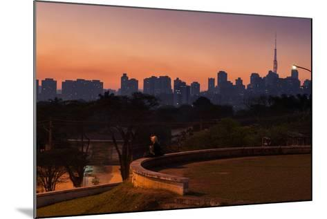 A Couple Watch the Sunset in Praca Do Por Do Sol, Sunset Square, in Sao Paulo-Alex Saberi-Mounted Photographic Print