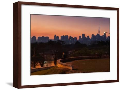 A Couple Watch the Sunset in Praca Do Por Do Sol, Sunset Square, in Sao Paulo-Alex Saberi-Framed Art Print