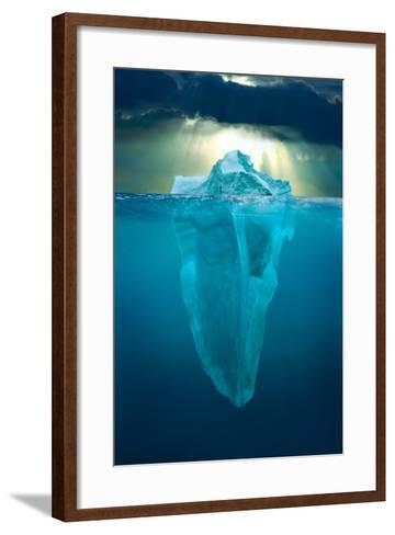 A Composite Photograph of a Stormy Sunset Above the Great Barrier Reef with an Iceberg-Kike Calvo-Framed Art Print