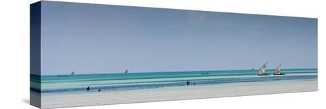 Boats Off the Coast of Paje Beach, Zanzibar-Robin Moore-Stretched Canvas Print