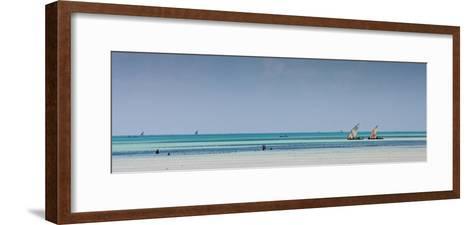 Boats Off the Coast of Paje Beach, Zanzibar-Robin Moore-Framed Art Print
