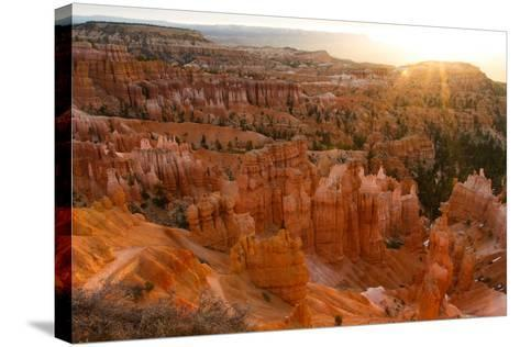 Sunrise Behind the Hoodoos and Spires in Bryce Canyon-Greg Winston-Stretched Canvas Print