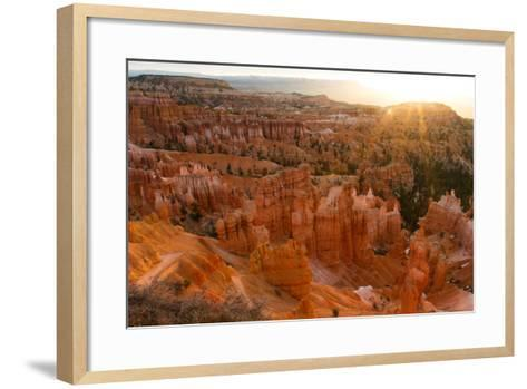 Sunrise Behind the Hoodoos and Spires in Bryce Canyon-Greg Winston-Framed Art Print