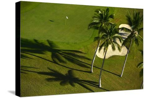An Aerial View of Palm Trees Casting Shadows onto Playa Nueva Golf Course-Raul Touzon-Stretched Canvas Print
