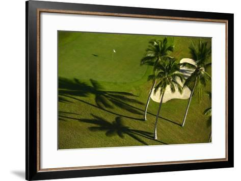 An Aerial View of Palm Trees Casting Shadows onto Playa Nueva Golf Course-Raul Touzon-Framed Art Print