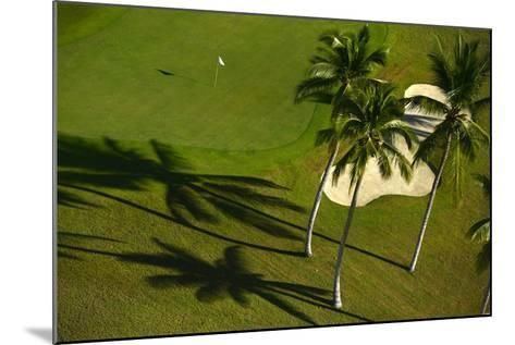 An Aerial View of Palm Trees Casting Shadows onto Playa Nueva Golf Course-Raul Touzon-Mounted Photographic Print
