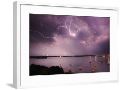 Lightning Strikes Off the Coast of Portland, Maine-Robbie George-Framed Art Print
