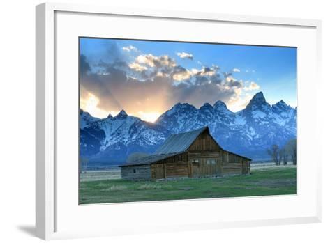 At Sunset, the Teton Range Rises Behind a Historic Barn on Mormon Row-Robbie George-Framed Art Print