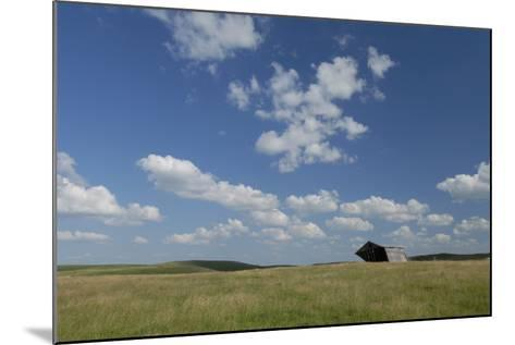 An Abandoned Barn in a Vast Field under a Sky with Puffy Clouds-Michael Forsberg-Mounted Photographic Print