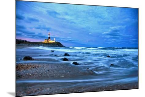 The Montauk Point Lighthouse Shining at Dusk-Robbie George-Mounted Photographic Print
