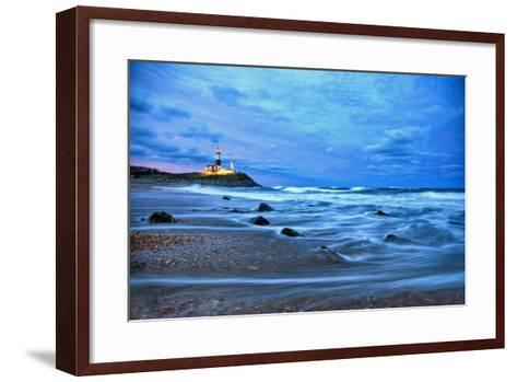 The Montauk Point Lighthouse Shining at Dusk-Robbie George-Framed Art Print