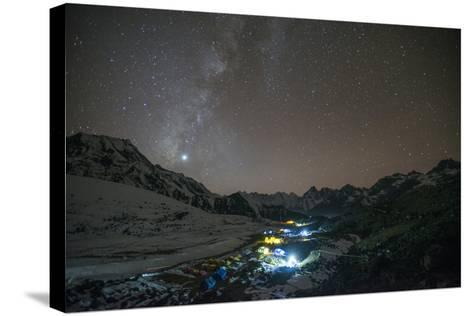 Ama Dablam Base Camp in the Everest Region Glows under Stars with the Milky Way-Alex Treadway-Stretched Canvas Print