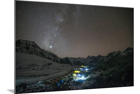 Ama Dablam Base Camp in the Everest Region Glows under Stars with the Milky Way-Alex Treadway-Mounted Photographic Print