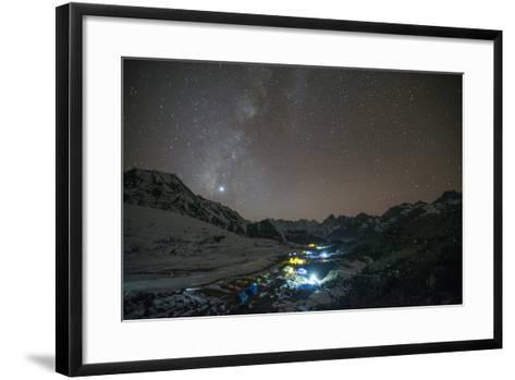Ama Dablam Base Camp in the Everest Region Glows under Stars with the Milky Way-Alex Treadway-Framed Art Print