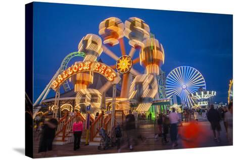 The Wildwood Beach Steel Pier's Ferris Wheel at Twilight with Blurred Motion-Richard Nowitz-Stretched Canvas Print